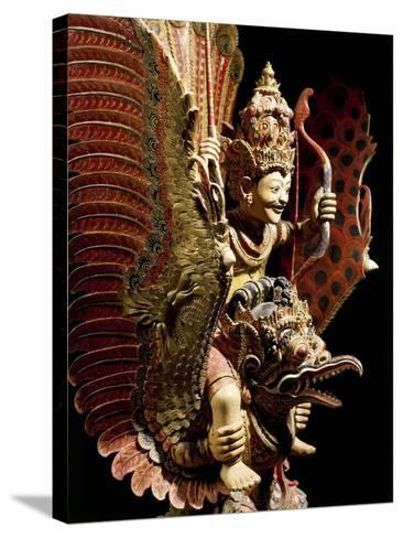Vishnu on Garuda Eagle, Carved and Painted Wooden Statue, Indonesia--Stretched Canvas Print