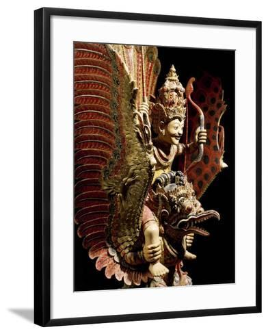Vishnu on Garuda Eagle, Carved and Painted Wooden Statue, Indonesia--Framed Art Print