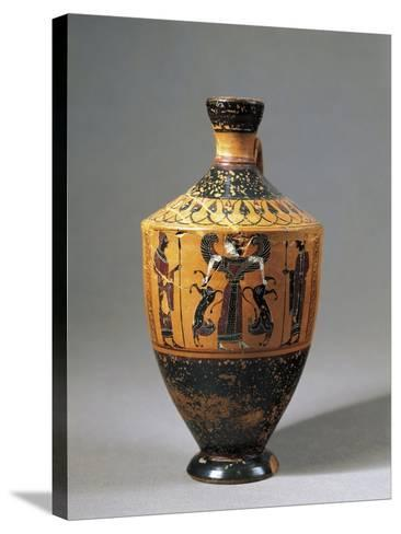 Lekythos Attributed to Amasis Painter with Scene Representing Lion Tamer Artemis, 560-550 B.C.--Stretched Canvas Print