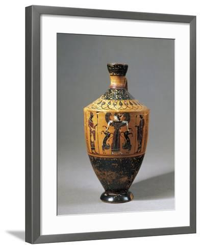 Lekythos Attributed to Amasis Painter with Scene Representing Lion Tamer Artemis, 560-550 B.C.--Framed Art Print