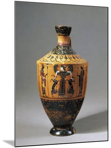 Lekythos Attributed to Amasis Painter with Scene Representing Lion Tamer Artemis, 560-550 B.C.--Mounted Giclee Print