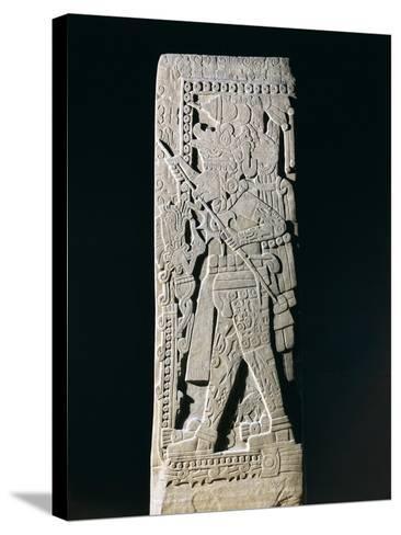 Huastec Stele Depicting Quetzacoatl Priest Sacrificing Himself, from Huilozintla, Veracruz, Mexico--Stretched Canvas Print