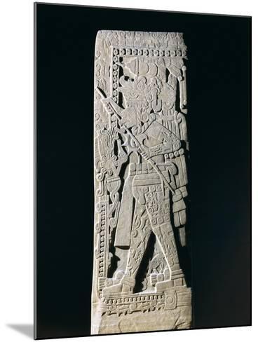 Huastec Stele Depicting Quetzacoatl Priest Sacrificing Himself, from Huilozintla, Veracruz, Mexico--Mounted Giclee Print