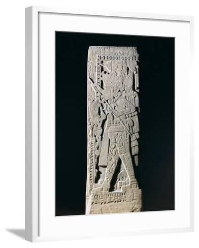 Huastec Stele Depicting Quetzacoatl Priest Sacrificing Himself, from Huilozintla, Veracruz, Mexico--Framed Art Print