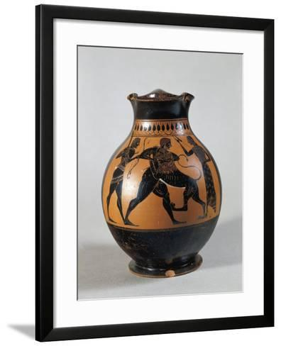 Oenochoe Attributed to Amasis Painter with Scene Representing Heracles and Nemean Lion--Framed Art Print