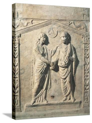 Votive Altar Depicting Bride and Groom at their Wedding During Dextrarum Iunctio Rite--Stretched Canvas Print