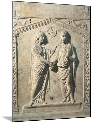 Votive Altar Depicting Bride and Groom at their Wedding During Dextrarum Iunctio Rite--Mounted Giclee Print