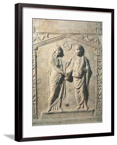 Votive Altar Depicting Bride and Groom at their Wedding During Dextrarum Iunctio Rite--Framed Art Print
