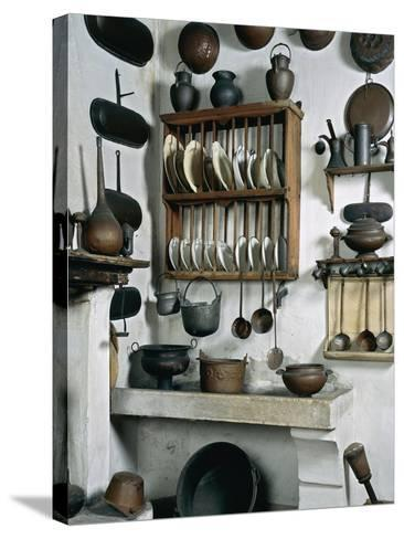 Italy, Mantua, Palazzo D'Arco, Ancient Wooden, Copper and Pewter Utensils on Display in Kitchen--Stretched Canvas Print