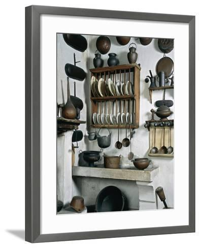 Italy, Mantua, Palazzo D'Arco, Ancient Wooden, Copper and Pewter Utensils on Display in Kitchen--Framed Art Print