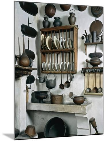 Italy, Mantua, Palazzo D'Arco, Ancient Wooden, Copper and Pewter Utensils on Display in Kitchen--Mounted Giclee Print