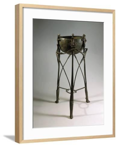 Bronze and Iron Tripod Cauldron Decorated with Animal and Human Figures--Framed Art Print