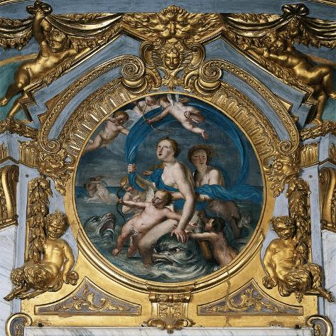 Italy, Genoa, Palazzo Spinola, Hall of Mirrors, Medallion Depicting the Triumph of Galatea--Stretched Canvas Print
