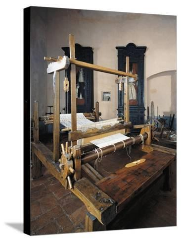 Italy, Morando Bolognini Castle, Hall of Weaving, Weaving Frame with Spinning Pedal--Stretched Canvas Print