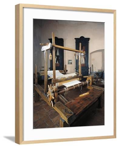 Italy, Morando Bolognini Castle, Hall of Weaving, Weaving Frame with Spinning Pedal--Framed Art Print