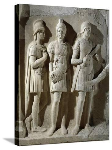 Marble Sarcophagus of Prefect Tiberius Flavius Miccalus, Detail of Three Soldiers of Escort--Stretched Canvas Print