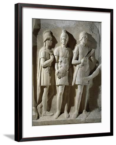 Marble Sarcophagus of Prefect Tiberius Flavius Miccalus, Detail of Three Soldiers of Escort--Framed Art Print