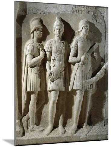 Marble Sarcophagus of Prefect Tiberius Flavius Miccalus, Detail of Three Soldiers of Escort--Mounted Giclee Print