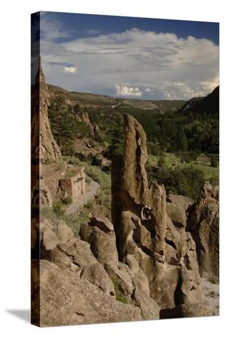 United States. Bandelier National Monument, Tyuonyi, Pueblo Indian Settlement--Stretched Canvas Print