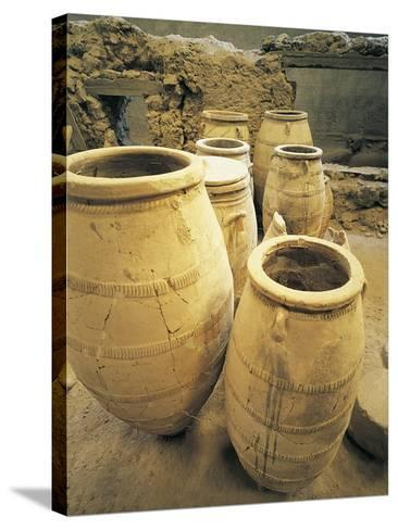 Greece, Cyclades Islands, Santorini, Island of Thera, Pithoi Storage Jars at Akrotiri--Stretched Canvas Print