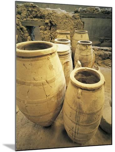 Greece, Cyclades Islands, Santorini, Island of Thera, Pithoi Storage Jars at Akrotiri--Mounted Giclee Print