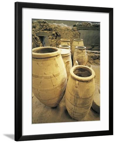 Greece, Cyclades Islands, Santorini, Island of Thera, Pithoi Storage Jars at Akrotiri--Framed Art Print