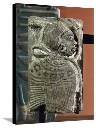 Kingdom of Ramses II, Plate Representing a Black Prisoner, Vitrified Brick, from Egypt--Stretched Canvas Print