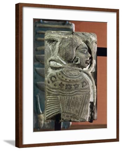 Kingdom of Ramses II, Plate Representing a Black Prisoner, Vitrified Brick, from Egypt--Framed Art Print
