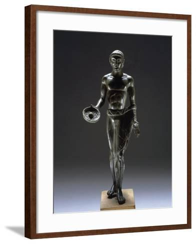 Italy, Bologna, Monte Acuto Ragazza, Bronze Statue Depicting Male Youth Praying--Framed Art Print