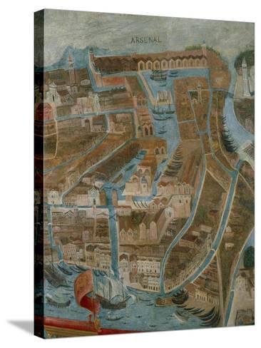 Italy, Perspective Map of Venice, Arsenal, Detail--Stretched Canvas Print