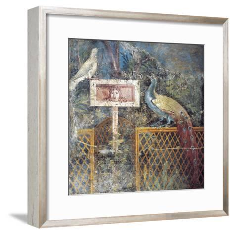 Ancient Roman Fresco with Birds and Tragic Theatre Mask--Framed Art Print