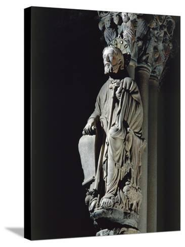 Spain, Santiago De Compostela, Figure of St James from Door of Glory in Cathedral--Stretched Canvas Print