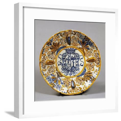 Stand Decorated with Coat of Arms, Ceramic, Laterza Manufacture, Puglia, Italy--Framed Art Print