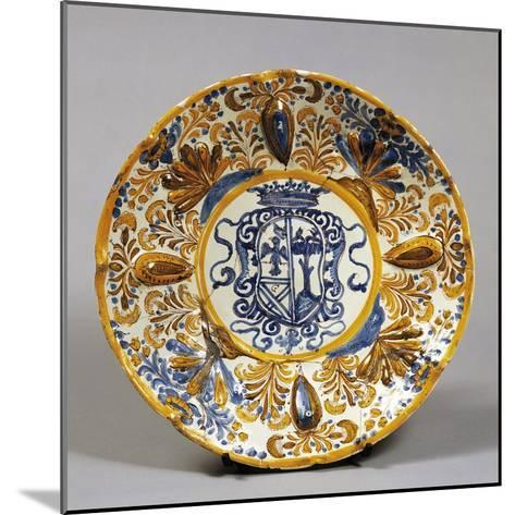 Stand Decorated with Coat of Arms, Ceramic, Laterza Manufacture, Puglia, Italy--Mounted Giclee Print