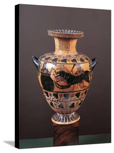 Black-Figure Pottery, Hydria Depicting Heracles Arriving in Hades Leading Cerberus--Stretched Canvas Print