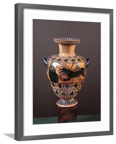 Black-Figure Pottery, Hydria Depicting Heracles Arriving in Hades Leading Cerberus--Framed Art Print