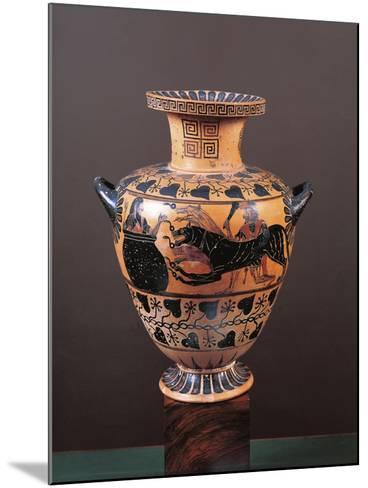 Black-Figure Pottery, Hydria Depicting Heracles Arriving in Hades Leading Cerberus--Mounted Giclee Print