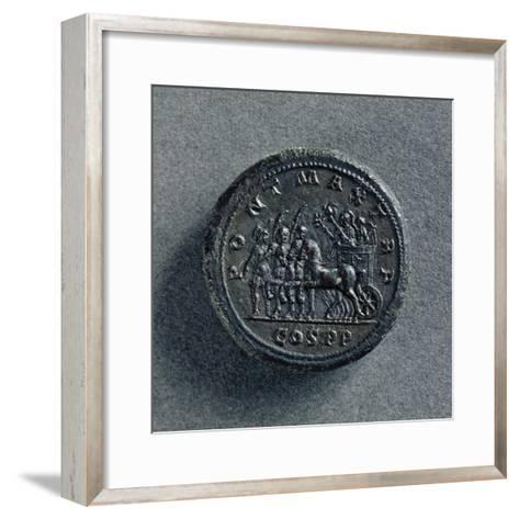 Bronze Macedonian Coin Depicting Philip II of Macedonia on Chariot, Greek Coins--Framed Art Print