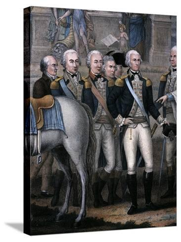 Washington, Hamilton, Rochambeau and General Lincoln, Detail from the British Surrendering--Stretched Canvas Print