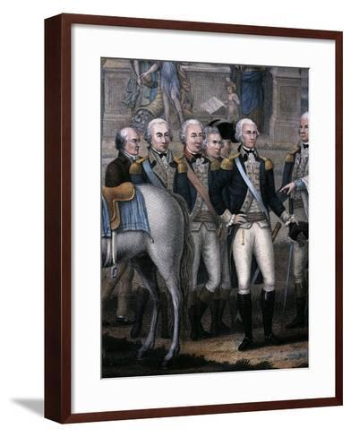 Washington, Hamilton, Rochambeau and General Lincoln, Detail from the British Surrendering--Framed Art Print
