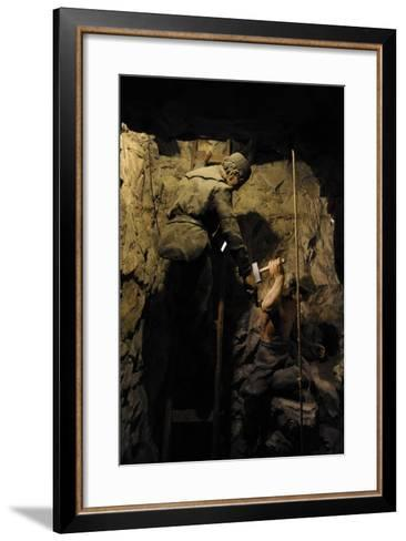 Mining, Shaft Sinking by Hand with Hammer and Wedge, Diorama--Framed Art Print