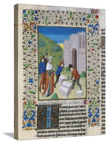Construction of the Temple of Jerusalem, Miniature from the Bible of St John XXII--Stretched Canvas Print