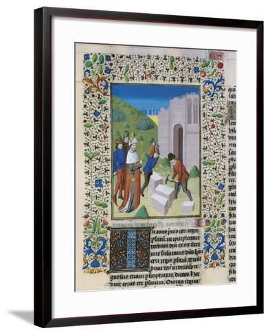 Construction of the Temple of Jerusalem, Miniature from the Bible of St John XXII--Framed Art Print
