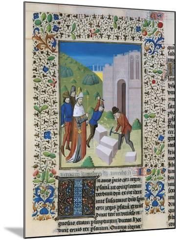 Construction of the Temple of Jerusalem, Miniature from the Bible of St John XXII--Mounted Giclee Print