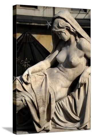 Italy, Milan, Detail Sculpture--Stretched Canvas Print