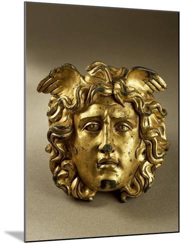 Bronze Gilt Medusa Head from Temple of Aesculapius at Ulpia Traiana Sarmizegetusa, Romania--Mounted Giclee Print
