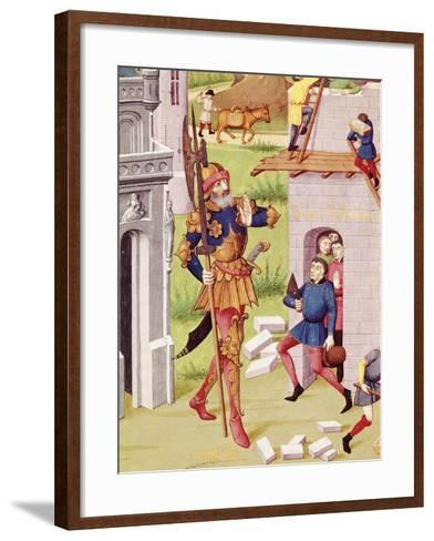King Nebuchadnezzar, Miniature from Chronicles of Bouquechardiere, 1450--Framed Art Print