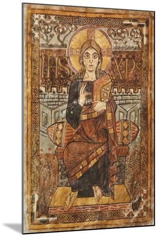 Christ on the Throne, Miniature from the Godescalco Gospels, Germany 8th Century--Mounted Giclee Print