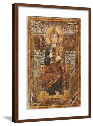 Christ on the Throne, Miniature from the Godescalco Gospels, Germany 8th Century--Framed Art Print