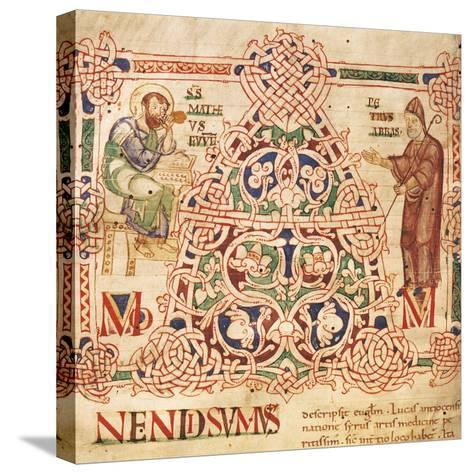 Illuminated Initial Capital Letter from a Gospels from San Benedetto Po, 1254, Italy--Stretched Canvas Print